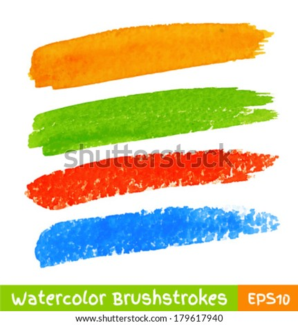 Set of Colorful Watercolor Brush Strokes, vector illustration  - stock vector