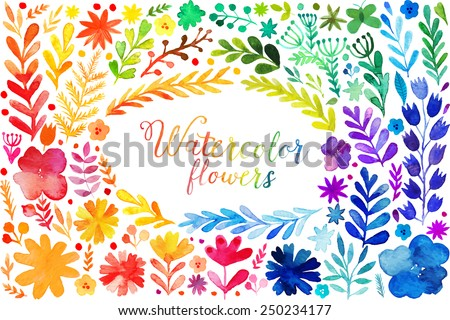 Set of colorful watercolor flowers. Vector illustration frame, vector set of red autumn watercolor leaves and berries, hand drawn design elements