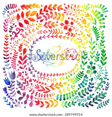 Set of colorful watercolor flowers. Vector illustration frame, vector set of summer watercolor leaves and berries, hand drawn design elements. - stock vector