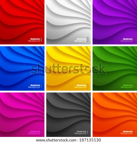 Set of 9 Colorful Wavy backgrounds. Vector Illustration  - stock vector