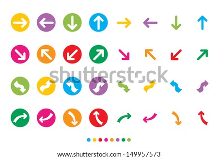 Set of colorful web or internet icon buttons on white background