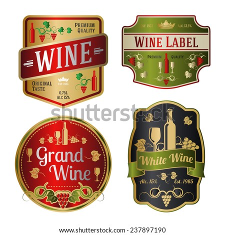 Set of colorful wine labels of different shapes. Vector - stock vector
