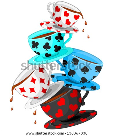 Set of colorful wonderland tea cups pyramid - stock vector