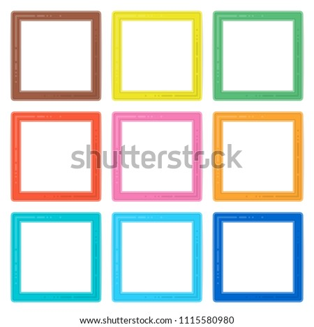 Set Colorful Wooden Frames Colorful Wooden Stock Vector 1115580980 ...