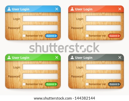 set of colorful wooden login forms eps10 vector illustration - stock vector