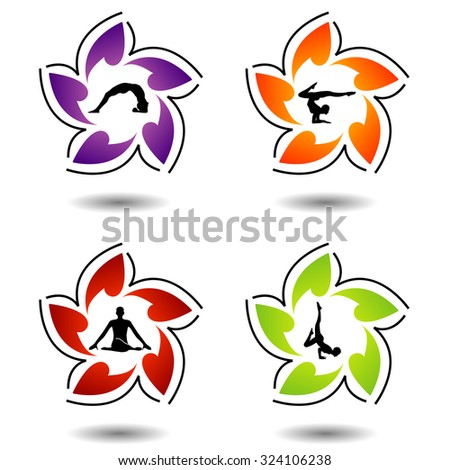 Set of colorful yoga silhouette  - stock vector