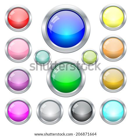 Set of colorfull glossy glass web buttons  in metal frame  - stock vector