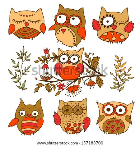 Set of 7 colorfully adorable little owls - stock vector