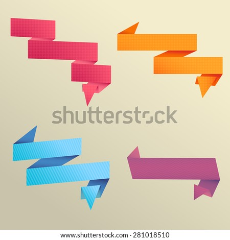 Set of colors ribbons and labels - stock vector