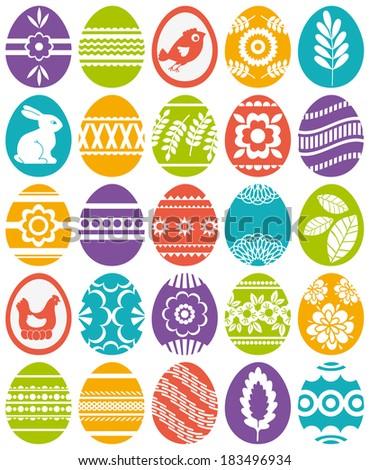 set of colour easter eggs, vector illustration - stock vector