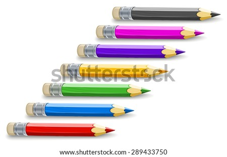 Set of colour pencils for drawing. Eps10 vector illustration. Isolated on white background - stock vector