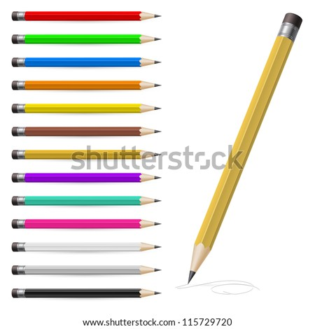 Set of Coloured pencils. Illustration on white background - stock vector