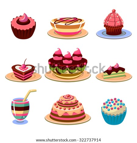 Set of colourful and tasty dessert icons. Vector illustration collection.