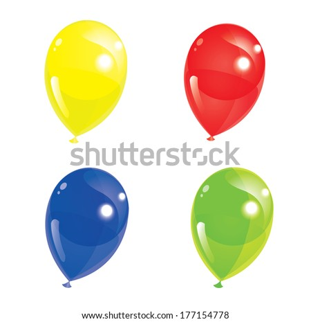 Set of colourful balloons, vector illustration - stock vector