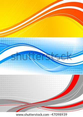 set of colourful banners: waves on bright backgrounds - stock vector