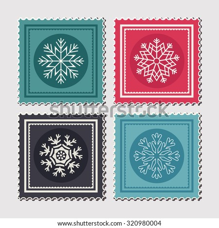 Set of colourful  Christmas postage stamps with snowflakes. Vector illustration - stock vector