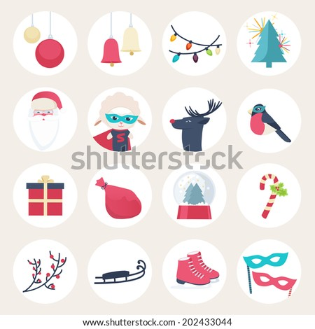 Set of colourful New Year vector icons with baubles, bells, lights, Christmas tree, Santa, Super hero, reindeer, robin, gift, sack, snow globe, candy cane, holly, sleigh, ice skates and masks - stock vector