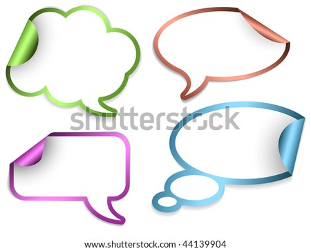 Set of Comic Clouds and bubbles as stickers and labels with colorful borders (vector) - stock vector