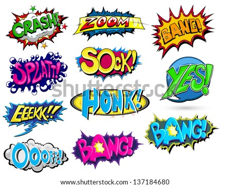 Set of Comic Expression Vector - stock vector