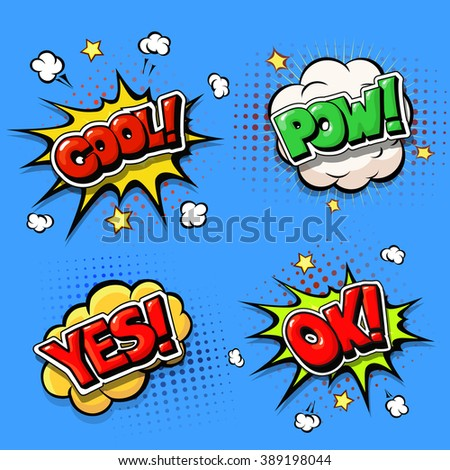 Set of Comic speech bubbles and dynamic explosion boom - stock vector