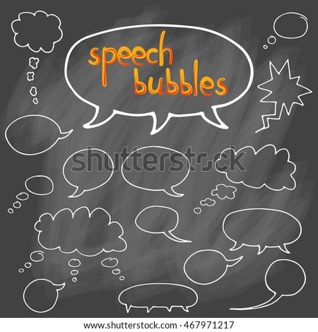 Set of comic speech bubbles. Isolated. hand drawn. Vector. Collection of cartoon communication bubbles. speech and thought. doodle. Blank  speech bubbles.