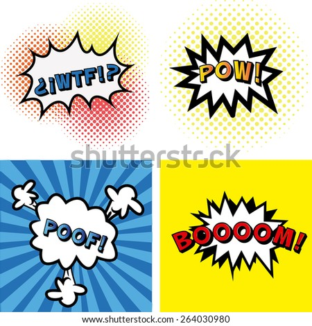 set of comic speech bubbles on colored backgrounds. Vector illustration - stock vector