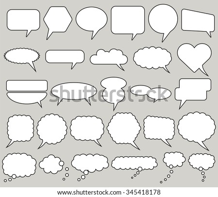 Set of comic speech bubbles. Vector image. Blank empty white collection of communications design elements. Different shapes of bubbles for comics and talking people illustrations.