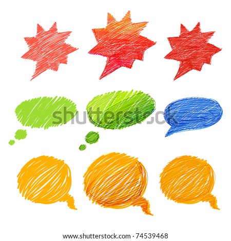 Set of comic style colorful hand-drawn talk clouds - stock vector
