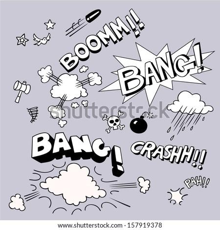 Set of comic style sound symbols. Vector illustration. - stock vector