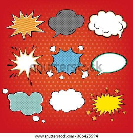 Set of Comics Bubbles in Pop Art Style. Vector illustration  - stock vector