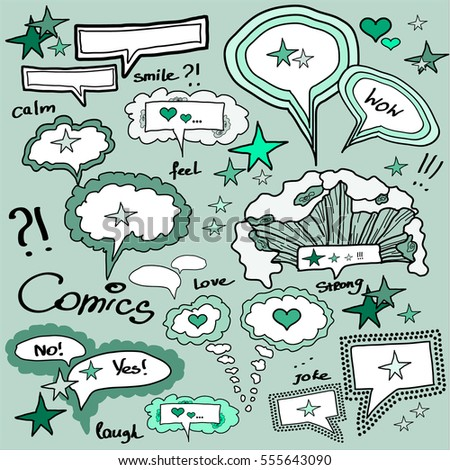 Set of comics doodles for expression emotions. Art of magazines, newspapers, cards, banners, style.Vector illustration.