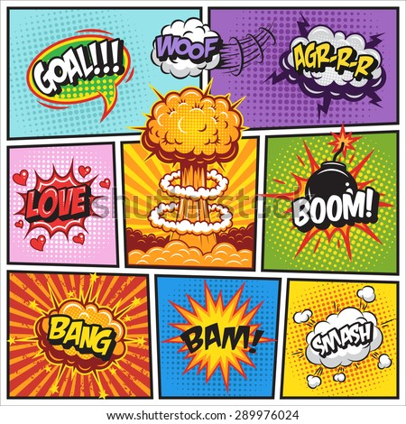 Set of comics speech and explosion bubbles on a comics book background. Colored with text - stock vector