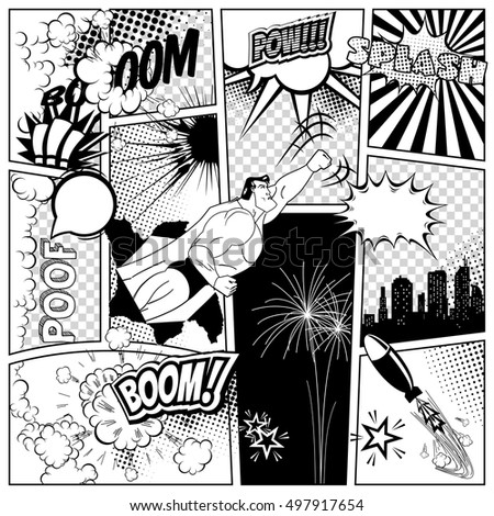 Set of comics speech and explosion bubbles on a comics book page background. Super hero, rocket, city silhouette and firework design elements