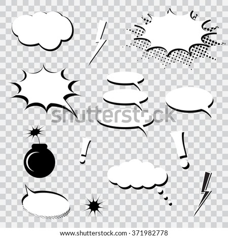 Set of comics speech bubbles  - stock vector
