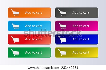 Set of commerce colorful buttons. Add to cart - stock vector