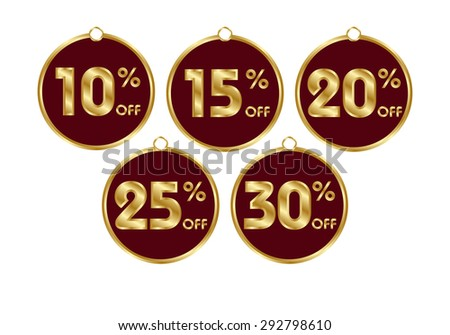 Set of commercial round badges. Economical buy. 10, 15, 20, 25, 30 percent discount. Suitable for advertisements, price tags, stickers etc. Color - gold and burgundy. Vector illustration - stock vector