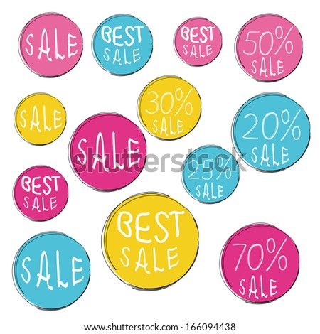 Set of commercial sale stickers. Big Sale tags with Sale up to  20 - 70 percent hand-drawn text. cmyk.