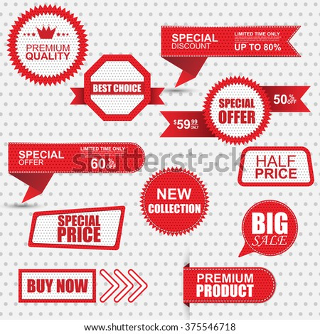 Set of commercial sale stickers, labels and banners - stock vector