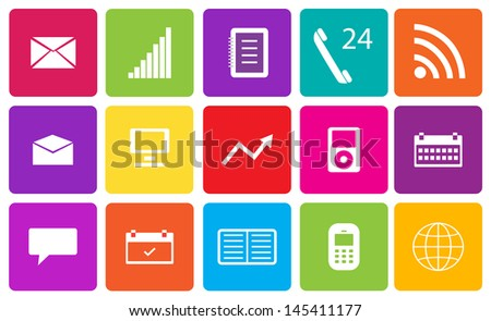 Set of communication and media icons. Vector illustration.