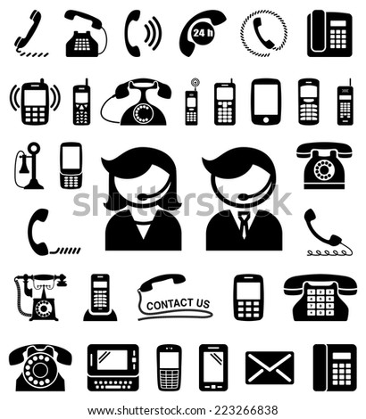 Set of communication / contact us icons. Vector illustration. - stock vector