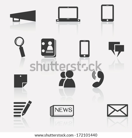 Set of communication icon; megaphone, computer laptop, smartphone, tablet, news, people, data, information, magnifying glass, speech bubble, calling, and note paper.  - stock vector