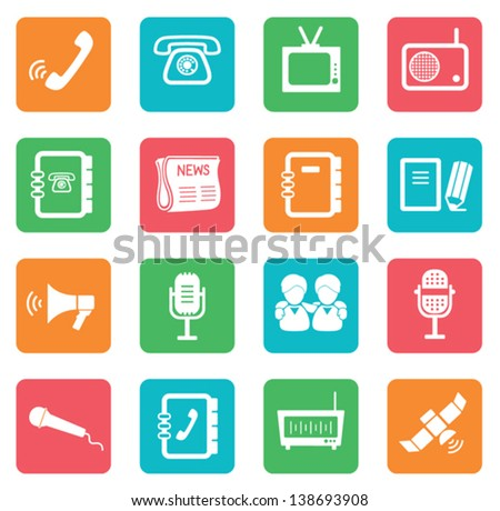 Set of communication icons. Color buttons. - stock vector