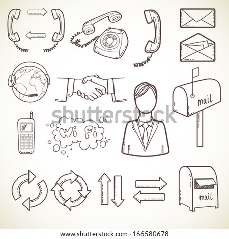 Set of communication icons, isolated on light background. Hand drawn sketch illustration. - stock vector