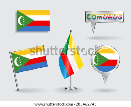 Set of Comoros pin, icon and map pointer flags. Vector illustration.
