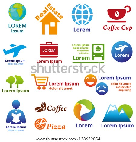 Set Of Company Name Concepts Vector Illustration Abstract Business Symbols