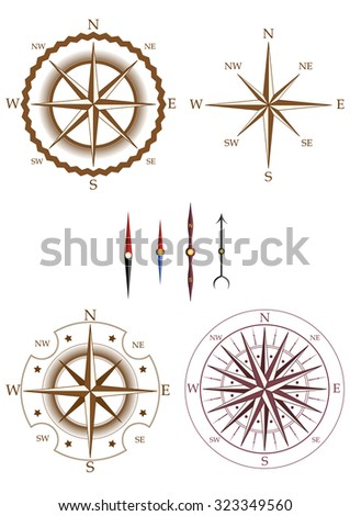 Set of compass elements isolated on white background. Collection of elements for company logos, business identity, print products, page and web decor or other design. Vector illustration. - stock vector