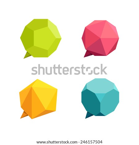 Set of complex speech balloons or talk bubbles in crystal style. Low-poly speech bubbles. vector - stock vector