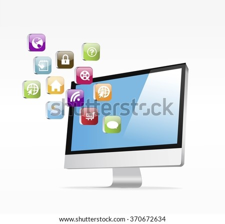 Set of Computer and Electronics Icon vector illustration