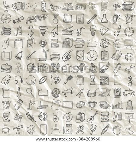 Set of computer, business and school icons. Hand drawn collection.