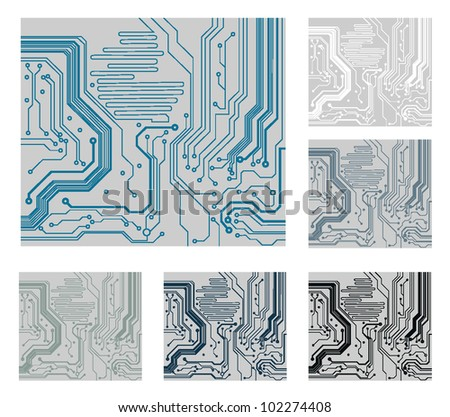 set of computer circuit board. electronic technology's vector background - stock vector